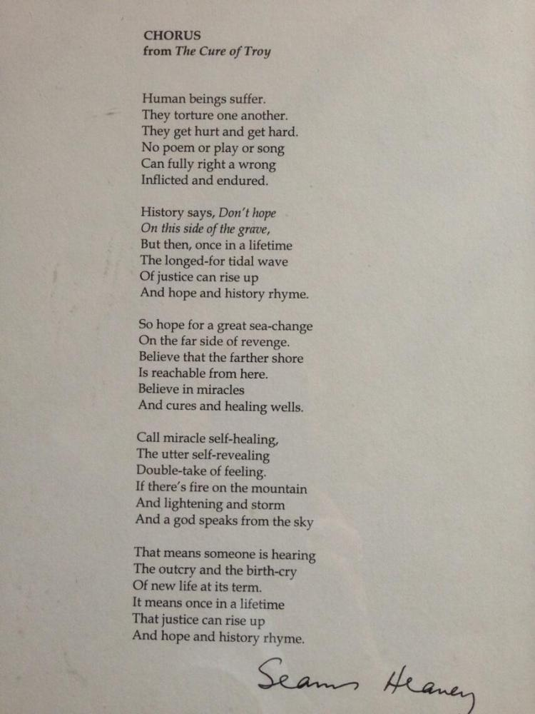 Chorus, from the Cure of Troy, by Seamus Heaney